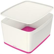 LEITZ Boîte de rangement My Box, 18 litres, blanc/rose