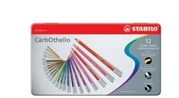 STABILO Crayon pastel CarbOthello, étui métallique de 12