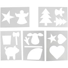 Set de 5 pochoirs, A4 21x30 cm, Noël