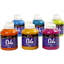 Set de  6 flacons de 500ml Acryl A-Color Glitter