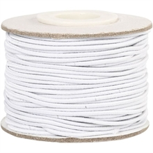 Cordon élastique rond blanc , épaisseur 1mm - 25m