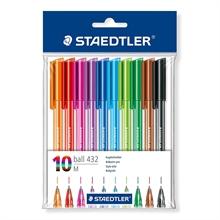 Etui de 10 stylos à bille tringulaire Staedtler Ball 432
