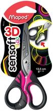 Maped Ciseaux Sensoft 3D Fluo, rond, longueur: 135 mm
