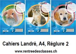 Cahier Landré A4 - 16f.  linéature 2 / ligné