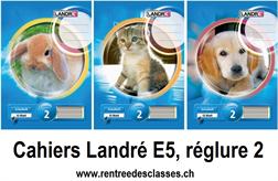 Cahier Landré E5 - 16f.  linéature 2 / ligné