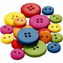 Boutons en bois, d: 12-20 mm, couleurs assorties, 2-4 trous, 360 assortis