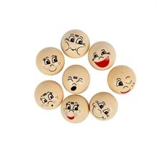 Têtes emoticône , 20 mm en bois -  16 assortis