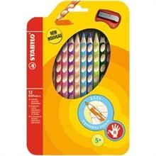 Etui de 12 crayons EASYcolors + taille-crayon pour droitiers