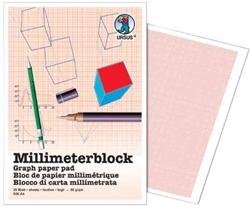Bloc de 25 flles de papier millimétré A4 URSUS 80g
