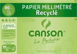 Pqt de 10 flles papier millimétré A4 Canson recyclé, vert