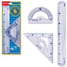 Kit géométrie pour gauchers, 3 pièces, transparent