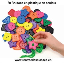 Sac de 60 Boutons extra-large, d: 40-50mm, couleurs assorties, 4 trous