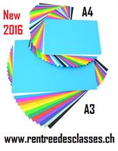 Pack scolaire de 125 flles A3 et 250 flles A4 papier àdessin 17 couleurs assorties 125g/m2