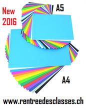 Pack scolaire de 250 flles A4 et 500 flles A5 papier àdessin 17 couleurs assorties 125g/m2