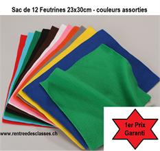 Pqt de 10 feutrines couleurs assorties - 1er prix