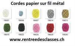 Rl. Cordes de papier 20m sur fil métal à torsader